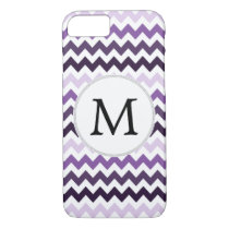 Personalized Monogram zigzag purple and White iPhone 7 Case