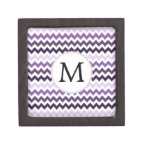 Personalized Monogram zigzag purple and White Jewelry Box