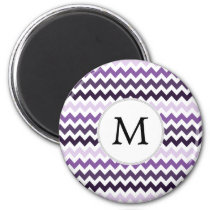 Personalized Monogram zigzag purple and White Magnet