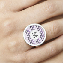 Personalized Monogram zigzag purple and White Photo Rings