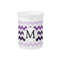 Personalized Monogram zigzag purple and White Pitcher