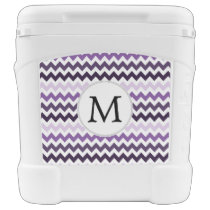 Personalized Monogram zigzag purple and White Rolling Cooler