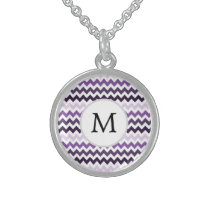 Personalized Monogram zigzag purple and White Sterling Silver Necklace