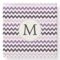 Personalized Monogram zigzag purple and White Stone Coaster