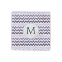 Personalized Monogram zigzag purple and White Stone Magnet