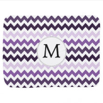 Personalized Monogram zigzag purple and White Swaddle Blanket