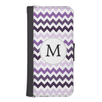 Personalized Monogram zigzag purple and White Wallet Phone Case For iPhone SE/5/5s