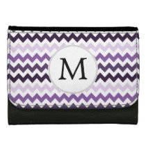 Personalized Monogram zigzag purple and White Wallets For Women
