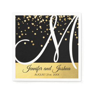 Personalized Monogrammed Black White Gold Wedding Napkin