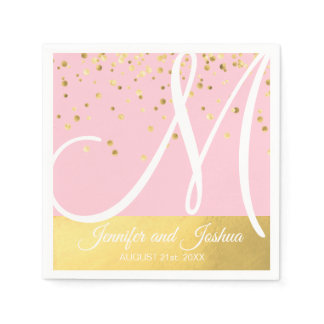 Personalized Monogrammed Blush Pink Gold Wedding Paper Napkin