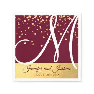 Personalized Monogrammed BURGUNDY Gold Wedding Napkin