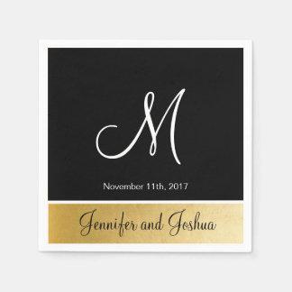 Personalized Monogrammed Custom Black Gold Wedding Paper Napkin