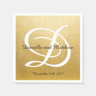 Personalized Monogrammed Custom Gold Foil Wedding Napkin