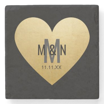 Beach Themed Personalized Monogrammed Gold Heart Wedding Favors Stone Coaster