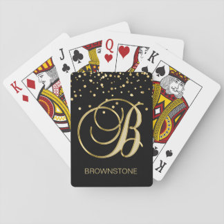 Personalized Monogrammed Letter 'B' Gold Black Playing Cards