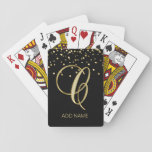 """Personalized Monogrammed Letter &#39;C&#39; Gold Black Playing Cards<br><div class=""""desc"""">Lovely modern personalized playing cards with gorgeous topography letter C design monogram in gold and black background with gold confetti.  Editable template - customize and add your name or delete.  These deck of cards are Perfect gifts - even for weddings!</div>"""