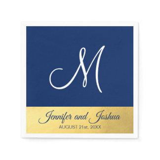 Personalized Monogrammed Navy Blue Gold Wedding Napkin