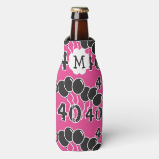 Personalized Monogrammed PINK BLACK 40th Birthday Bottle Cooler