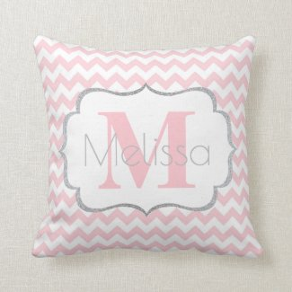 Personalized Monogrammed Pink Grey Chevron Girl Throw Pillow