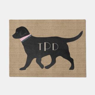 Personalized Monogrammed Preppy Black Lab Tan Jute Doormat