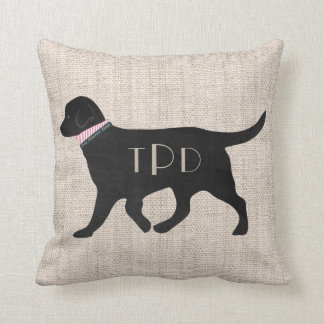 Personalized Monogrammed Preppy Black Lab Tan Jute Throw Pillow