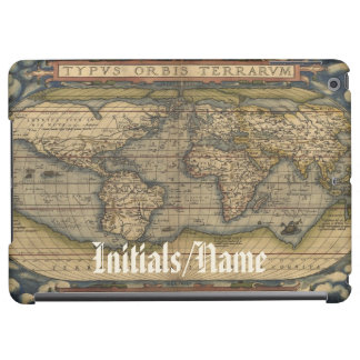 Personalized Monogrammed Vintage World Map Atlas Cover For iPad Air