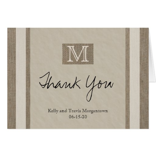 Personalized Monogrammed Wedding Thank You Card