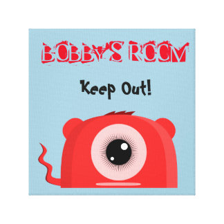 Personalized Monster and Keep Out Sign Canvas Print