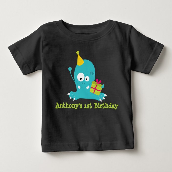 Personalized Monster First Birthday T Shirt Zazzle Com