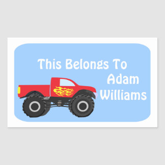 Personalized Monster Truck Sticker Label
