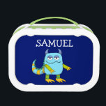 """Personalized Monster Yubo Lunchbox<br><div class=""""desc"""">Personalized Monster Yubo Lunchbox for boys. This lunch box features fun,  hand-drawn monsters,  your child&#39;s name,  and a modern repeat pattern on back.</div>"""