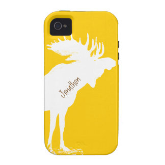 Personalized Moose Yellow Changes to Any Color iPhone 4/4S Cover