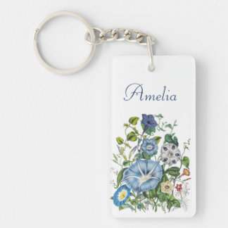 Personalized Morning Glories Keychain