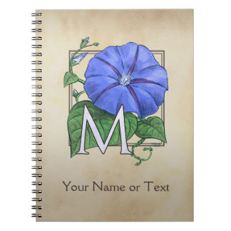 Personalized Morning Glories Monogram Art Notebook