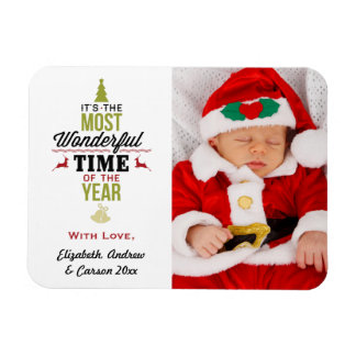 Personalized Most Wonderful Time of the Year Photo Flexible Magnets