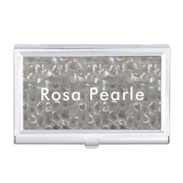 Beach Themed Personalized Mother of Pearl Business Card Holder