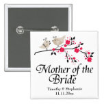Personalized mother of the bride floral wedding 2 inch square button