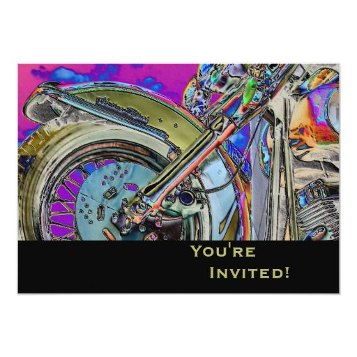 Personalized Motorcycle 40th Birthday Party 5x7 Paper Invitation Card