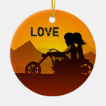 Personalized Motorcycle Couple at Sunset LOVE Double-Sided Ceramic Round Christmas Ornament