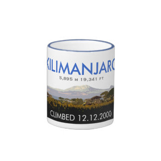 Personalized Mount Kilimanjaro Climb Commemorative Ringer Coffee Mug