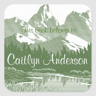 Personalized Mountains Bookplate Sticker