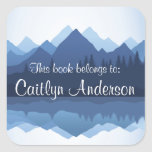 """Personalized Mountains Bookplate Sticker<br><div class=""""desc"""">Personalized Mountains Bookplate Sticker with customizable text.</div>"""