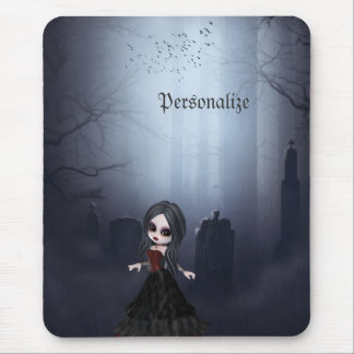Personalized Mousepad. Cute Goth Girl in Graveyard Mouse Pad