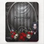 Personalized Mousepad - Goth Girl, Skulls & Roses