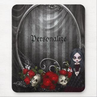 Personalized Mousepad - Goth Girl, Skulls & Roses