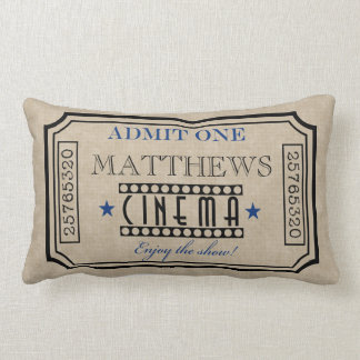 Personalized Movie Theater Ticket Pillow- blue Throw Pillow