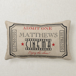 Personalized Movie Theater Ticket Pillow- red Throw Pillow
