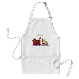 Personalized Moving Labradors Cartoon Adult Apron