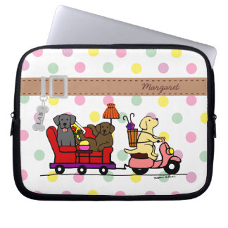 Personalized Moving Labradors Cartoon Laptop Computer Sleeve