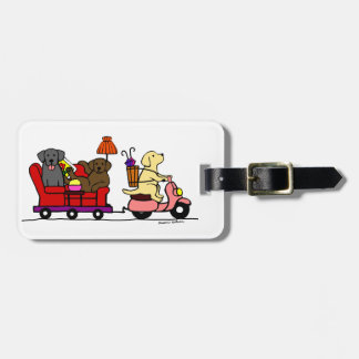 Personalized Moving Labradors Cartoon Luggage Tag